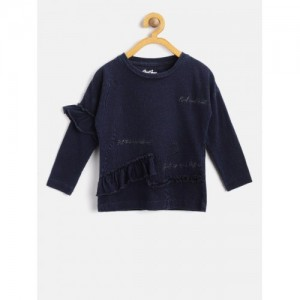 Gini and Jony Navy Blue Cotton olid Top For Girls