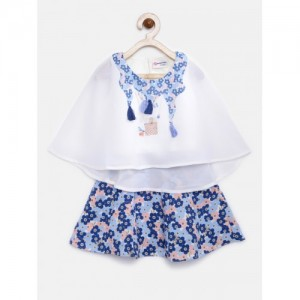 Peppermint Girls White & Blue Polyester Embellished Top with Skirt