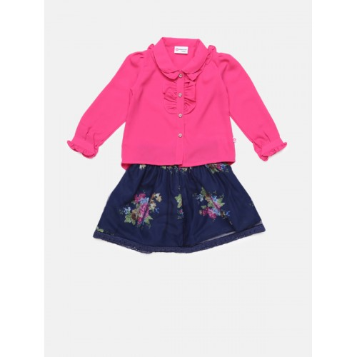 Peppermint Pink & Navy Blue Polyester Printed Clothing Set