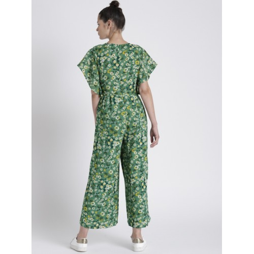 cf3c2990f73 Buy Chemistry Green   Yellow Floral Printed Basic Jumpsuit online ...