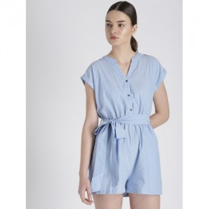 Chemistry Blue Solid Playsuit