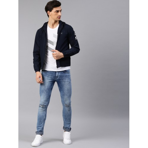 HRX by Hrithik Roshan Men Navy Solid Hooded Jacket