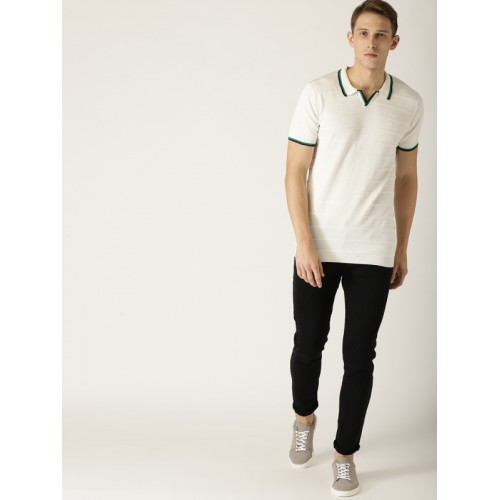 United Colors of Benetton Men Off-White Self Striped Polo Collar T-shirt