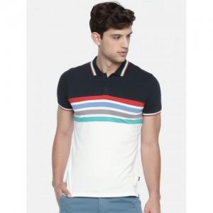 Jack & Jones Men Navy Blue & White Colourblocked Polo Collar T-shirt