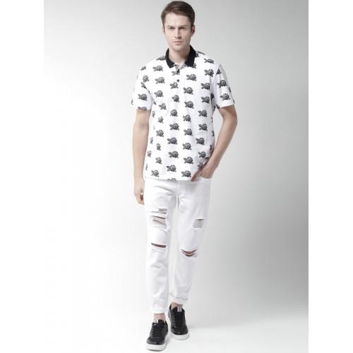 FOREVER 21 Men White & Black Printed Polo Collar T-shirt