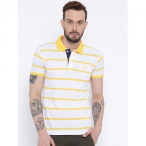 Duke Men White & Yellow Striped Polo Collar T-shirt