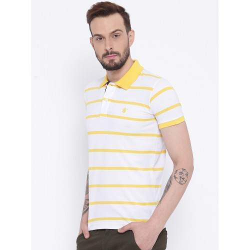 Duke Men White & Yellow Striped Polo Collar T-shirt