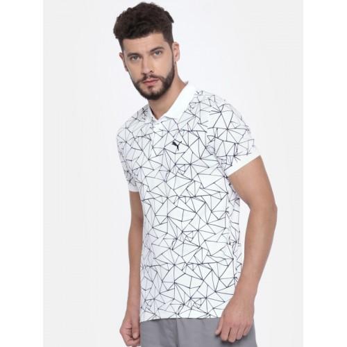 Puma Men White Printed Polo Collar T-shirt