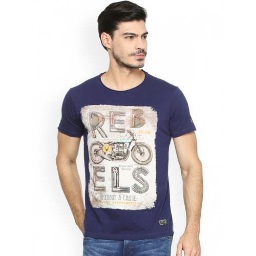 9cc80fe0f5 Buy Solly Jeans Co. Men Blue Printed Round Neck T-shirt online ...