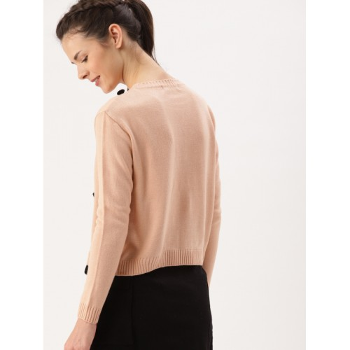 DressBerry Women Peach-Coloured Solid Pullover