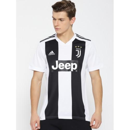 Adidas Men White & Black Striped Juventus Home Football Jersey