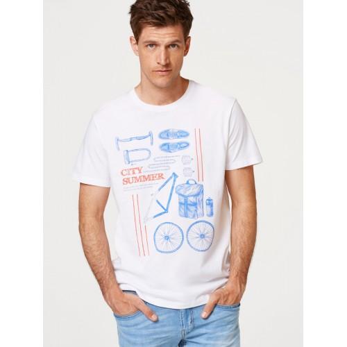 00034c27 Buy ESPRIT Men White Printed Round Neck T-shirt online | Looksgud.in