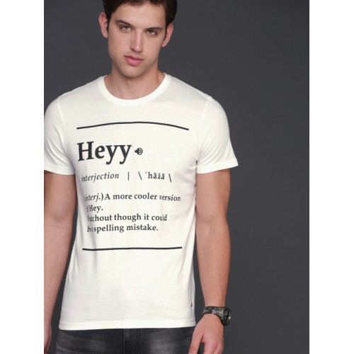 113a640f94 Buy WROGN Men Off-White Printed Round Neck T-shirt online | Looksgud.in