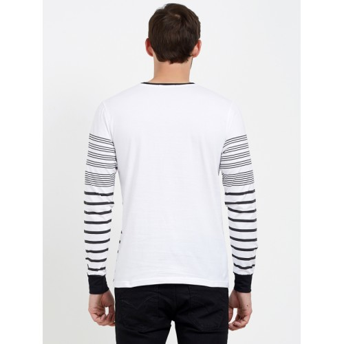 Maniac Men White & Black Striped Round Neck T-shirt