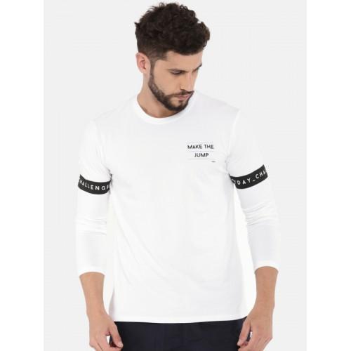 5b1212df ... HRX by Hrithik Roshan Men White Solid Round Neck T-shirt ...