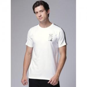 YWC Men White Solid Round Neck T-shirt