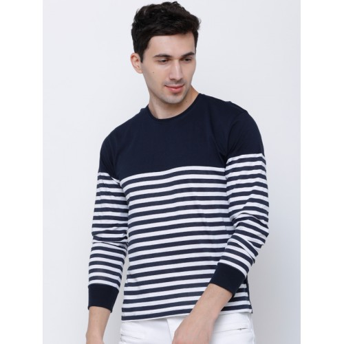 ebc388c008b ... HIGHLANDER Men Navy Blue Striped Slim Fit Round Neck T-shirt ...