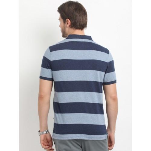 Indian Terrain Men Navy Blue Striped Polo Collar T-shirt