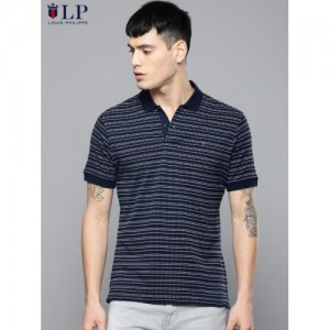 Louis Philippe Sport Men Navy Blue Self Design Polo Collar T-shirt