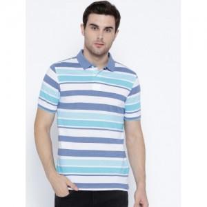 Peter England Casuals Men Blue & White Striped Polo Collar T-shirt