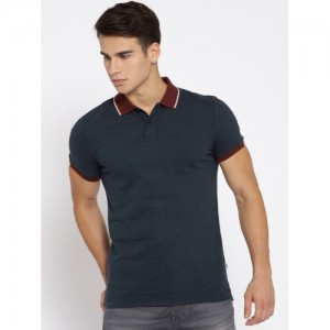 51cc793d7 Buy Jack & Jones Navy Blue Striped Polo Collar T-shirt online ...