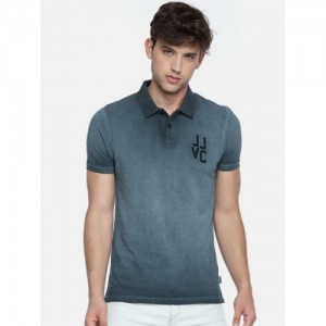 Jack & Jones Men Blue Solid Polo Collar T-shirt