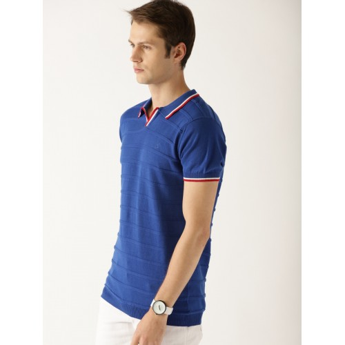 United Colors of Benetton Men Blue Self Design Polo Collar T-shirt