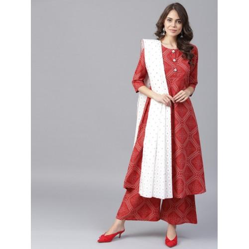 Yufta Women Rust Red & White Printed Kurta with Palazzos & Dupatta