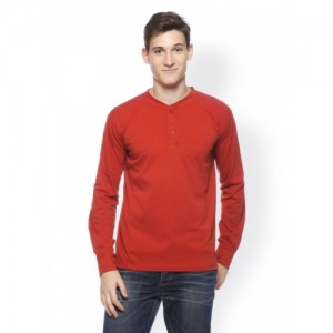 GRITSTONES Men Red Henley T-shirt