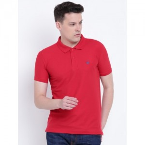 Duke Men Red Solid Polo Collar T-shirt