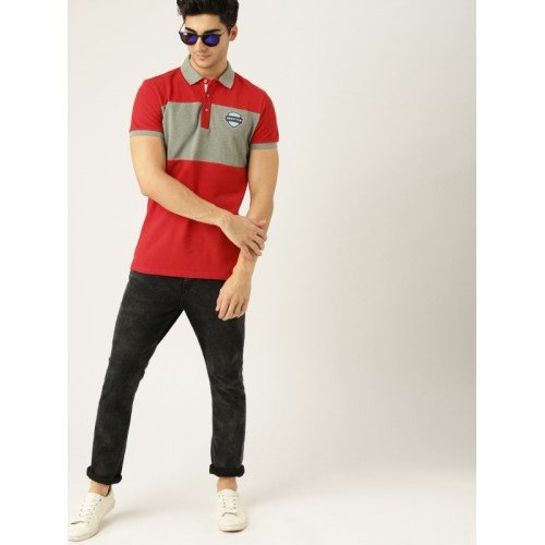 United Colors of Benetton Men Red BOLD STRAP Polo Collar T-shirt