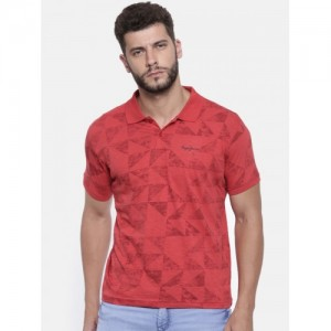 Pepe Jeans Men Red Printed Polo Collar T-shirt