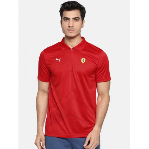 5c3c33f3 ... Puma Men Red Self-Design Scuderia Ferrari EVO Polo T-shirt ...