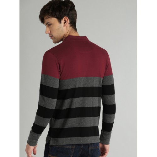 Roadster Men Charcoal Grey & Maroon Striped Polo Collar T-shirt