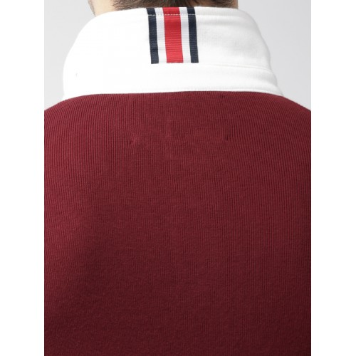 Tommy Hilfiger LEWIS HAMILTON  Men Maroon Solid Polo Collar T-shirt