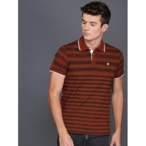 WROGN Men Rust Red & Black Striped Polo Collar Slim Fit T-shirt