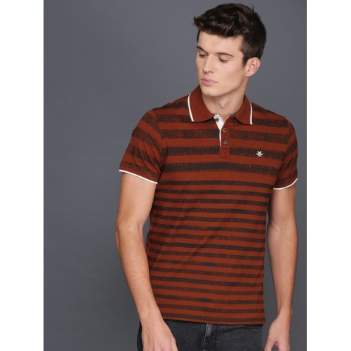 4f4c31544c71 ... WROGN Men Rust Red & Black Striped Polo Collar Slim Fit T-shirt ...