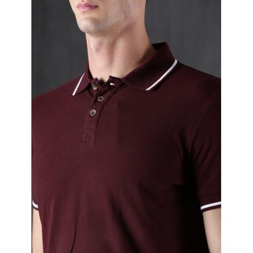 WROGN Men Burgundy Solid Polo T-shirt