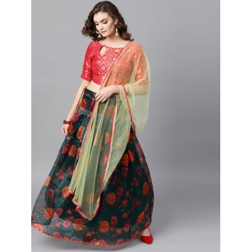 4403c7bdeb8 ... Inddus Green   Red Printed Semi-Stitched Lehenga   Unstitched Blouse  with Dupatta ...