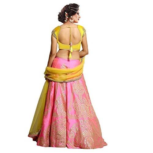 Store Mart Pink & Yellow Paper Silk Lehenga Choli