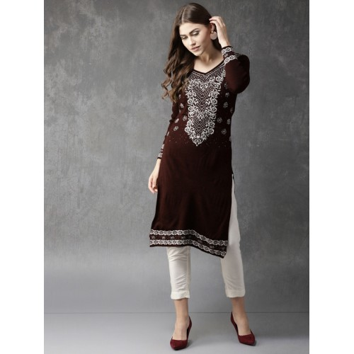 167a1c1bd50 Buy Anouk Women Burgundy   Off-White Knitted Sweater Kurta online ...
