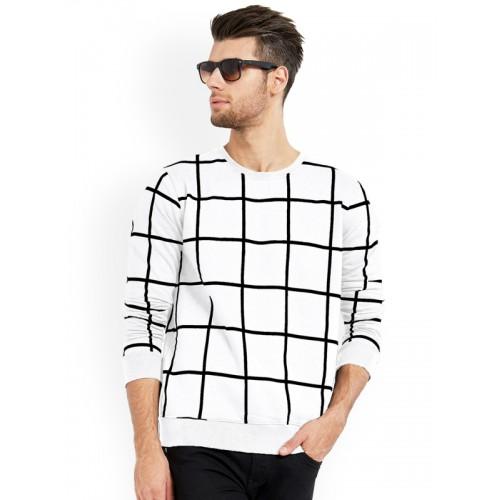 Maniac White & Black Cotton Checkered Round Neck T-Shirt