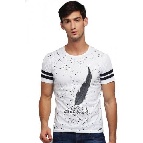 Wearza Graphic Print Men Round Neck White T-Shirt