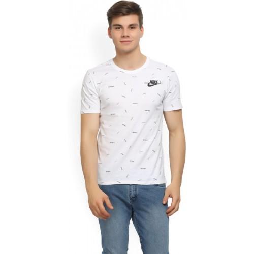 Nike Printed Men Round Neck White T-Shirt
