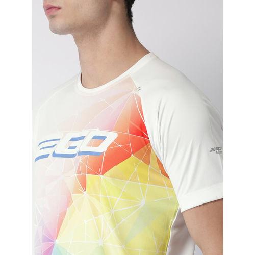 2GO Men White Printed Round Neck T-shirt