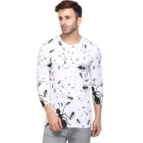 Inkovy Printed Men's Round Neck White T-Shirt