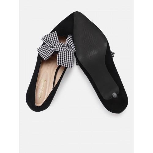 899fe10e6ee Buy DressBerry Women Black Solid Suede Kitten Heels Pumps online ...