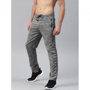 HRX by Hrithik Roshan Grey Melange polyester Active Solid Track Pants