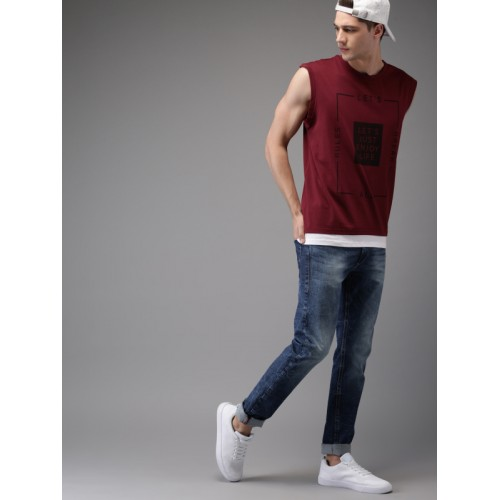 Moda Rapido Men Maroon Printed Round Neck Sleeveless T-shirt