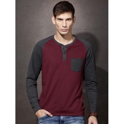 8167525aa45 ... Roadster Men Burgundy   Charcoal Grey Colourblocked Henley Neck T-shirt  ...